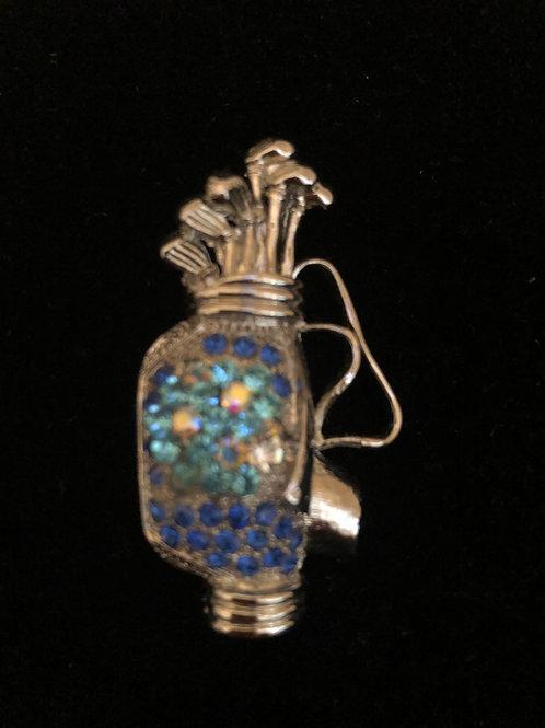 Sky-blue Austrian crystal golf bag brooch