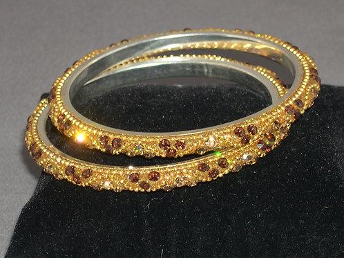 Gold and brown crystal bangle bracelets