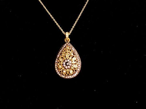 Designer look gold and black etched tear drop pendant