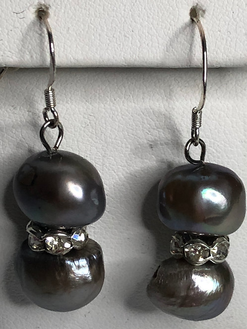 Double FWP earring with Austrian crystals on sterling silver wire