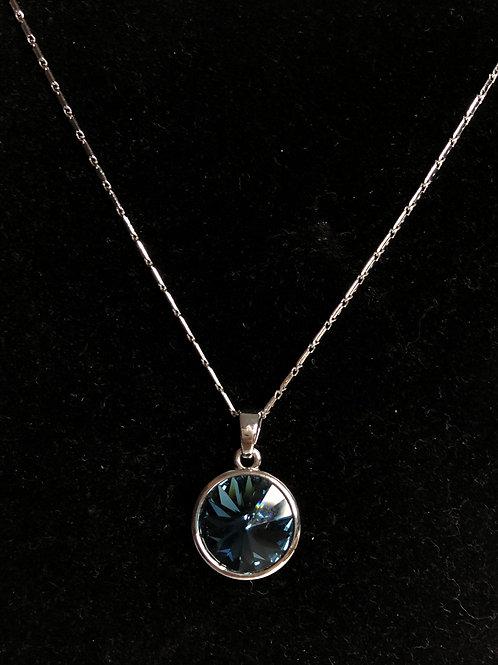 Swarovski crystal round pendant -Navy blue
