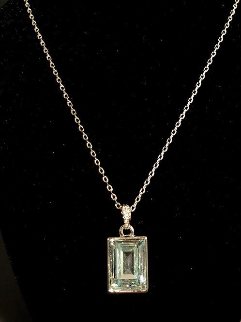 Swarovksi crystal rectangular SKY BLUE  pendant in stainless steel