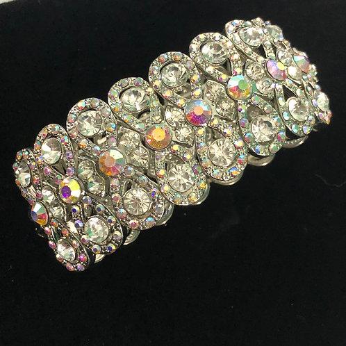 Swirl SILVER WITH AURORA BOREALISAustrian crystal bracelet