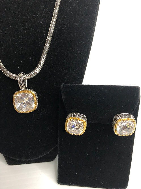 Designer Two tone Clear Detachable pendant with earrings
