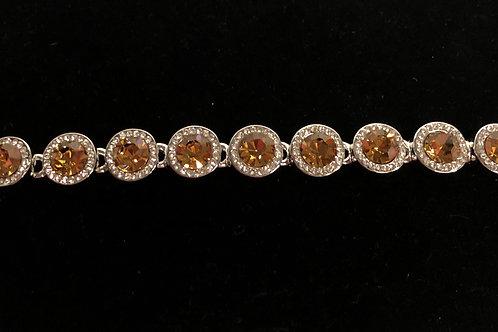 Swarovski crystal round line bracelet -Champagne.