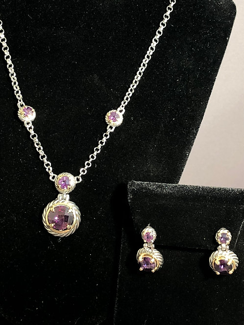 Designer purple two tone drop necklace with pierced earrings to match