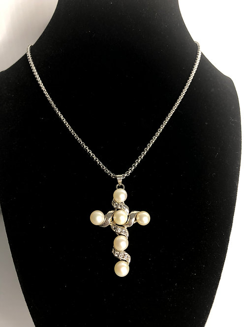 White pearl cross with clear crystals