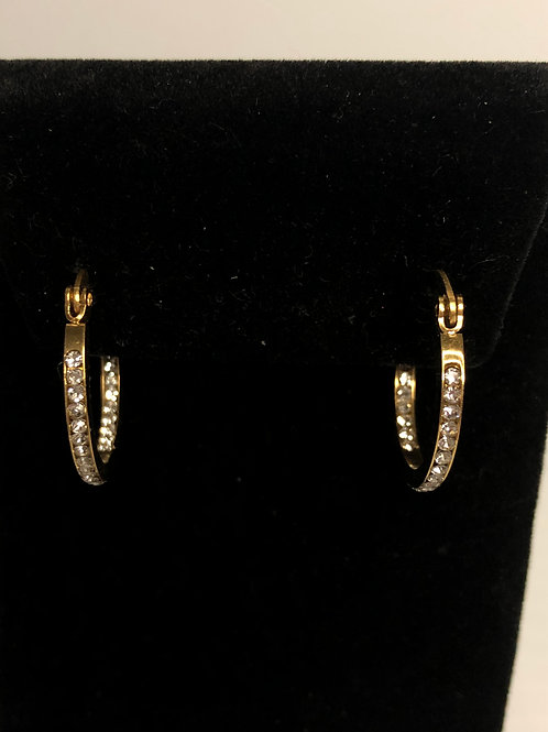 Gold stainless steel hoop earring with Swarovski crystals