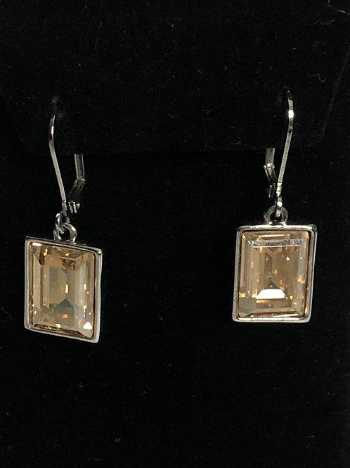 Swarovksi crystal rectanglar earrings in stainless steel