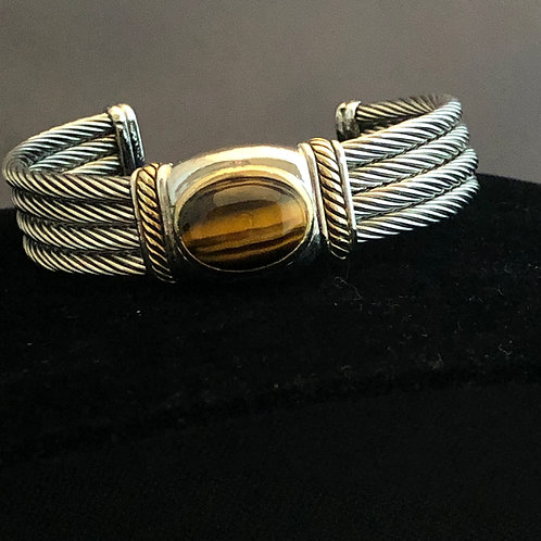 Designer look TWO TONE cable bracelet in TIGERS EYE