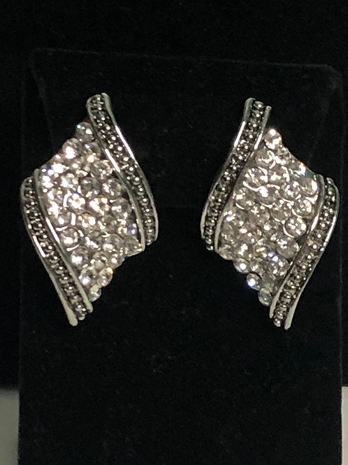 Silver with clear Austrian crystal clip on earrings