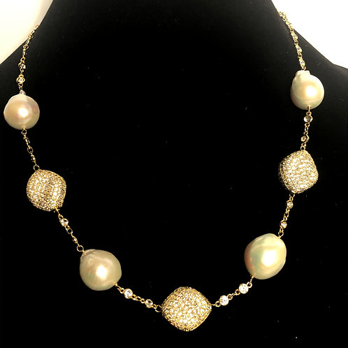 White FWP interlinked with Gold over sterling silver diamond