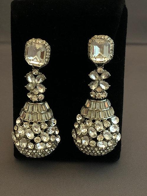 Larger silver crystal chandelier pierced earring