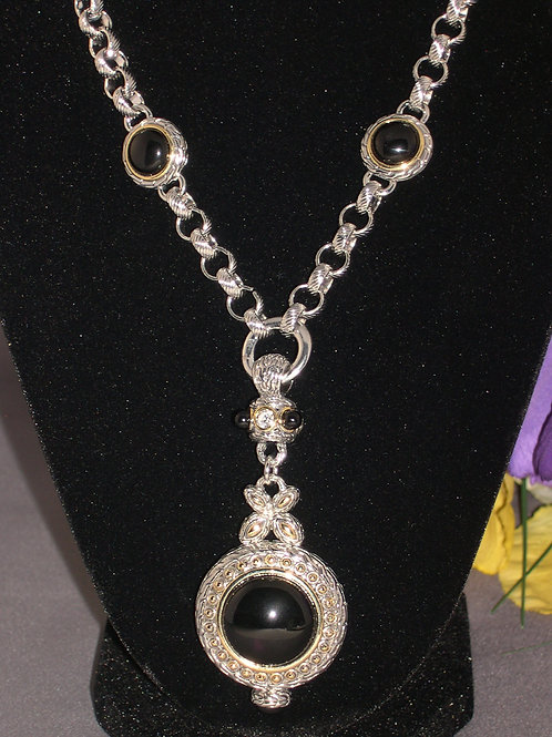 """Black onyx """"Y"""" drop two tone necklace with toggle clasp"""