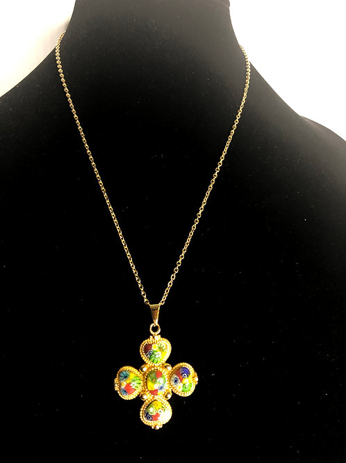 Gold stainless steel Multi colored Murano glass cross