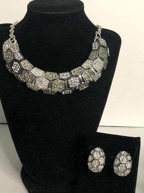 Checkered black and white Austrian crystal bib