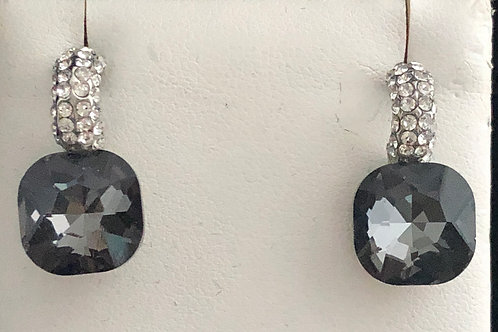 Light gray square Austrian crystal pierced earring