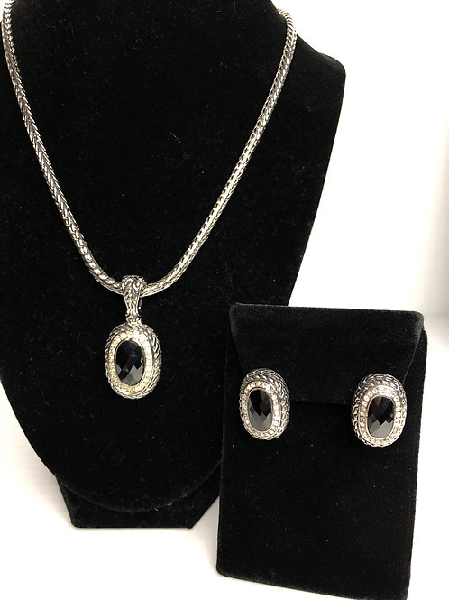 Designer Black pendant & earrings