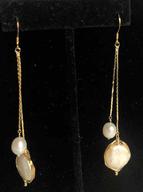 Long 14 kt over sterling silver pierced earrings with white FWP