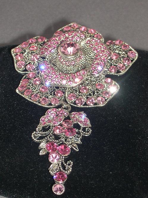 PINK crystal 3 dimensional ROSE flower brooch