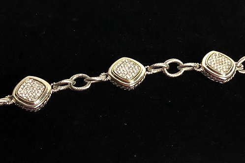 Two tone designer bracelet with CLEAR  Stones and toggle clasp