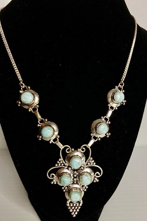Larimar design necklace all done sterling silver