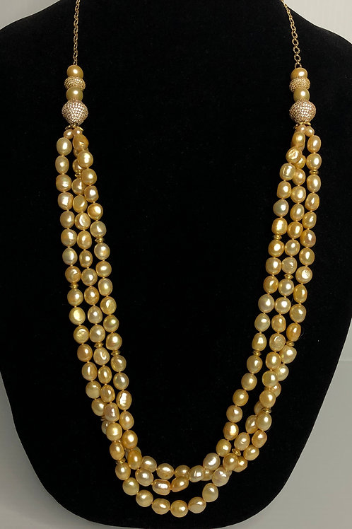 Yellow/Gold Freshwater Cultured pearls necklace