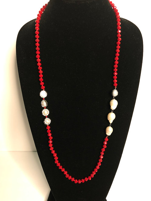 Red necklace with large white baroque Freshwater pearls