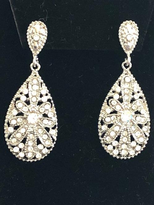 Designer look SILVERtear drop shaped pierced earrings