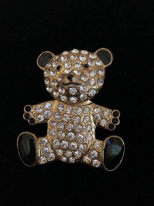 Gold movable teddy bear brooch