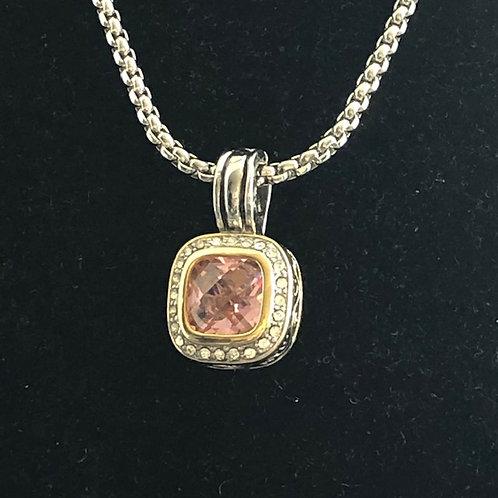Designer Pink detachable pendant on rhodium adjustable chain