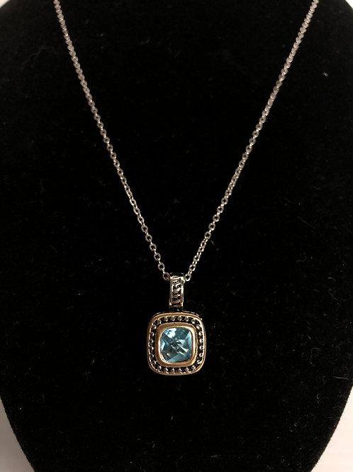 Designer look square BLUE GREEN two tone pendant