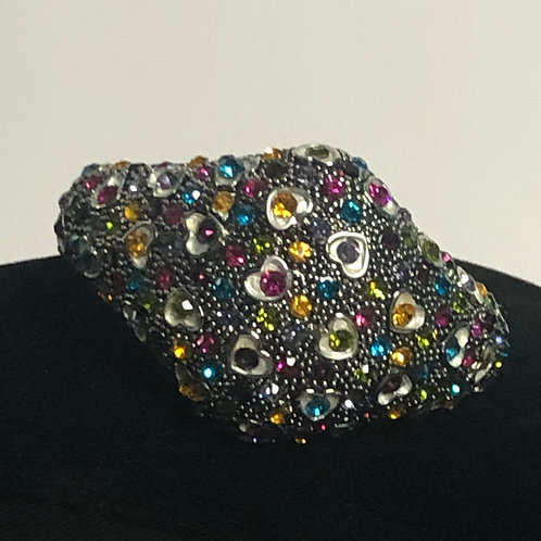 Silver design bracelet with multi color Austrian crystals