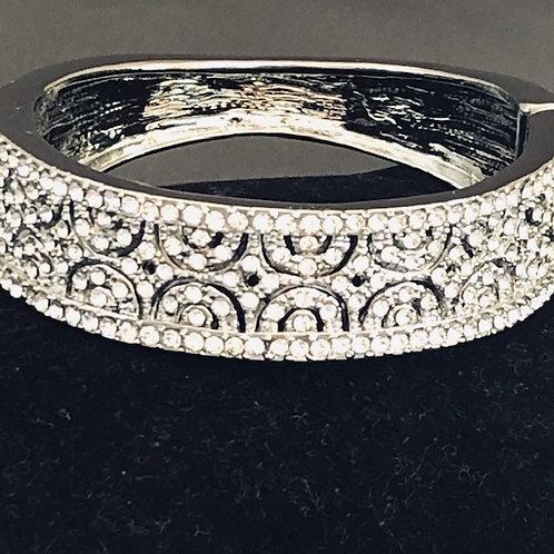 Designer look hinged SILVER bracelet with Austrian crystals