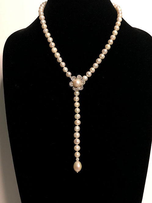 """White Freshwater pearl necklace in """"Y"""" drop design"""