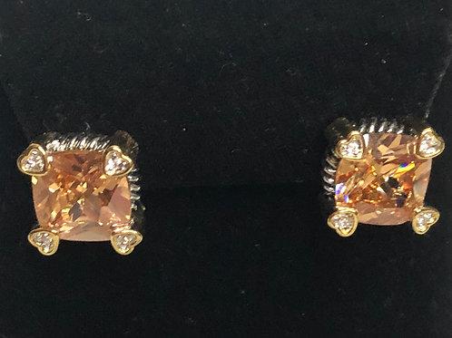 Designer Champagne lever back earrings
