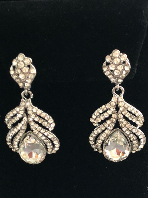 Small silver chandelier with clear Austrian crystal pierced earring