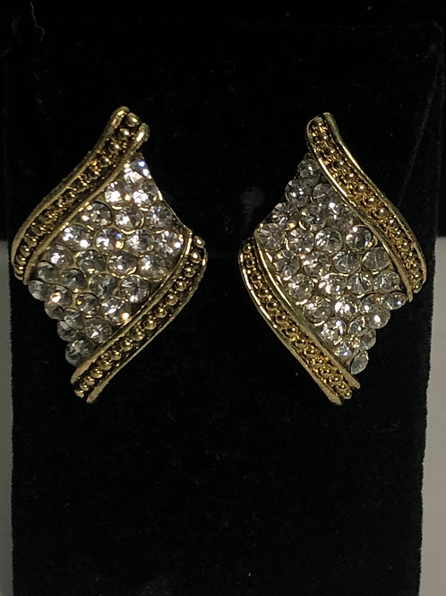 Gold with clear Austrian crystal clip on earrings
