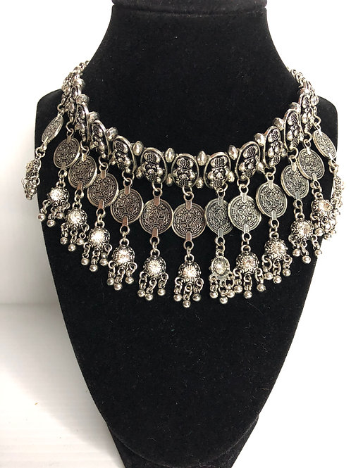 Cleopatra silver bib necklace with adjustable clasp