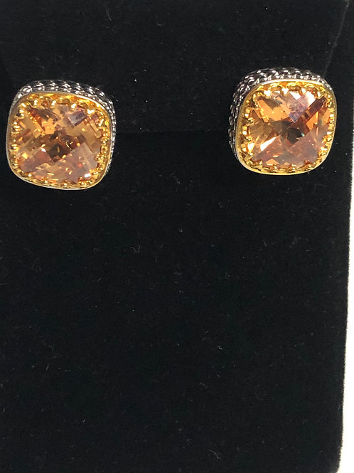 Designer look CHAMPAGNECubic Zircon lever back earrings