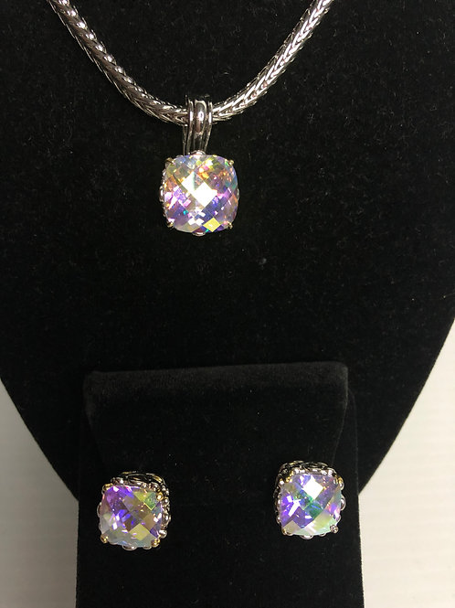 Designer look Aurora Borealis pendant & Lever Back Earrings