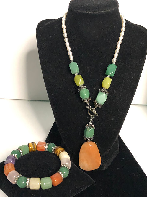 """Natural stones in """"Y"""" drop with Freshwater pearls with gemstone"""
