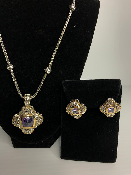 Designer look PURPLECubic Zircon detachable pendant