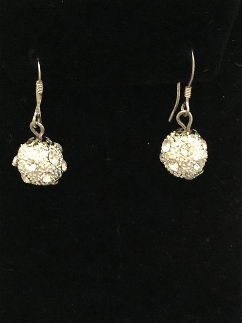 Disco ball earrings with clear Austrian crystals on sterling wire