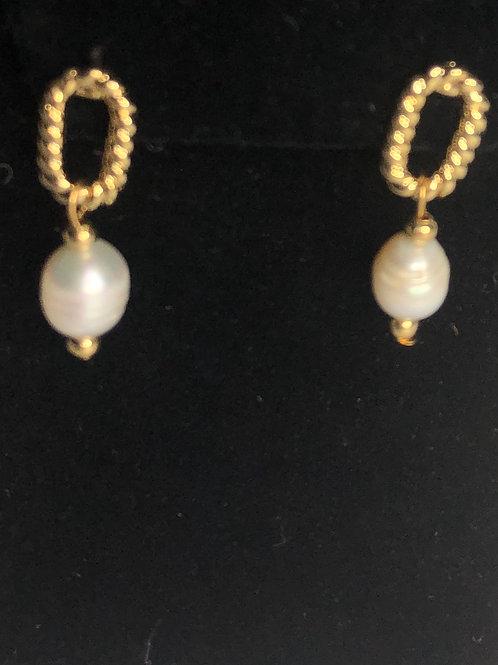 Designer inspired Freshwater pearl drop earrings in gold