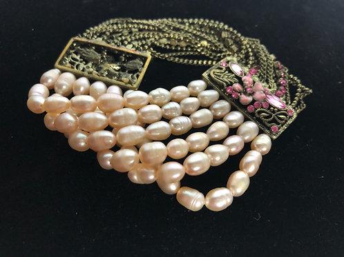 Multi strand Freshwater Cultured pearl bracelet
