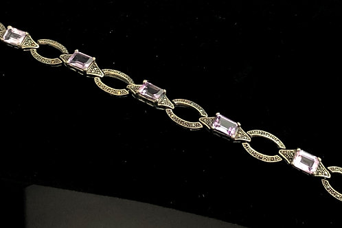 Sterling  silver marcasite antique bracelet with Amethyst stones