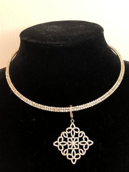 Silver Austrian crystal choker with triangular shaped enhancer