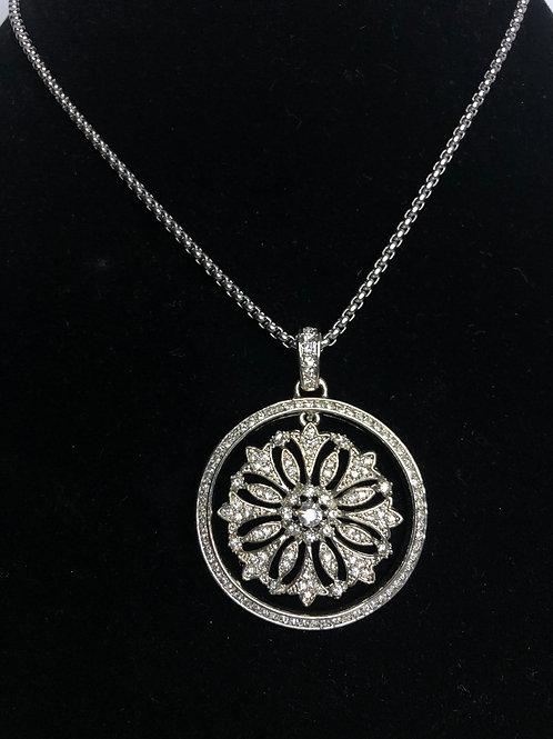Large Designer look silver round Austrian crystal pendant