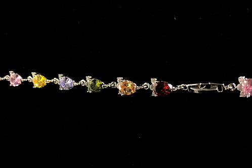 Genuine multi color pear shaped Gemstone zircon sterling silver 925 bracelet